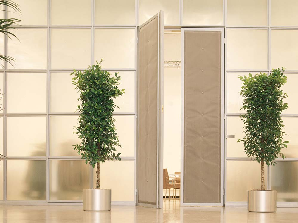 Office doorway with eco office plants